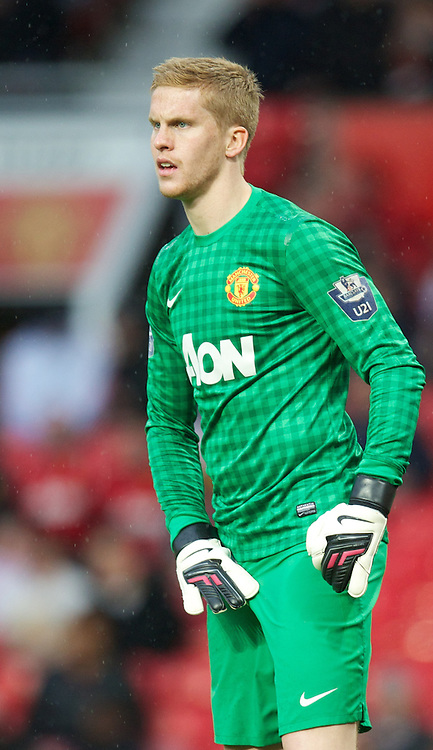 MANCHESTER, ENGLAND - Tuesday, May 14, 2013: Manchester United's goalkeeper Ben Amos in action against Liverpool during the Premier League Academy Elite Group Semi-Final match at Old Trafford. (Pic by David Rawcliffe/Propaganda)