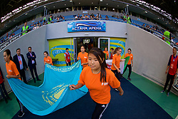 ASTANA, KAZAKHSTAN - Sunday, September 17, 2017: Kazakhstan flag bearers before the FIFA Women's World Cup 2019 Qualifying Round Group 1 match between Kazakhstan and Wales at the Astana Arena. (Pic by David Rawcliffe/Propaganda)