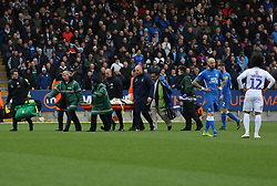 Luke Thomas of Coventry City leaves the pitch on a stretcher after getting a head injury - Mandatory by-line: Joe Dent/JMP - 16/03/2019 - FOOTBALL - ABAX Stadium - Peterborough, England - Peterborough United v Coventry City - Sky Bet League One