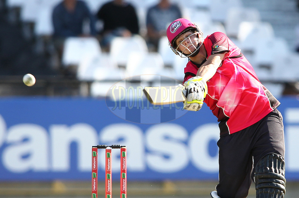 Steven Smith of the Sydney Sixers attacks a delivery during match 10 of the Karbonn Smart CLT20 South Africa between The Highveld Lions and The Sydney Sixers held at Newlands Stadium in Cape Town, South Africa on the 18th October 2012..Photo by Shaun Roy/SPORTZPICS/CLT20