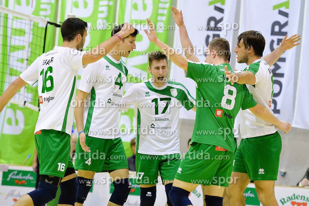 Urban Drvaric and other Players of Panvita Pomgrad during volleyball game between OK Panvita Pomgrad and ACH Volley in 2nd semifinal match of  Slovenian National Championship 2015, on April 5, 2015 in Murska Sobota, Slovenia. Photo by Mario Horvat / Sportida