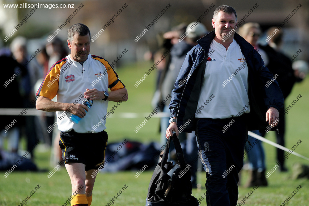 """The referee """"duo"""" walk from the field of play, following the Otago Secondary School Rugby Competition match between John McGlashan College 1st XV and St Kevins College 1st XV, held at St Kevins College, Oamaru, New Zealand, 16th May 2015. Credit: Joe Allison / allisonimages.co.nz"""