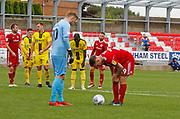 Burton Albion goalkeeper Harry Campbell (20) has some words of advice for penalty taker Accrington Stanley forward Billy Kee (29)  during the EFL Sky Bet League 1 match between Accrington Stanley and Burton Albion at the Fraser Eagle Stadium, Accrington, England on 8 September 2018.