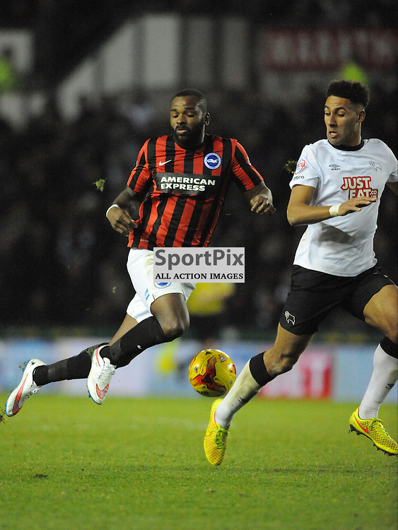 Brighton Darren Bent try A shot on Derbys Goal, Derby v Brighton Hove Albion, Championship. Saturday 6th December 2014