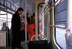CZECH REPUBLIC BOHEMIA PRAGUE FEB00 - Passengers  leave and enter a tram in Prague. jre/Photo by Jiri Rezac. . © Jiri Rezac 2000. . Tel:   +44 (0) 7050 110 417. Email: info@jirirezac.com. Web:   www.jirirezac.com