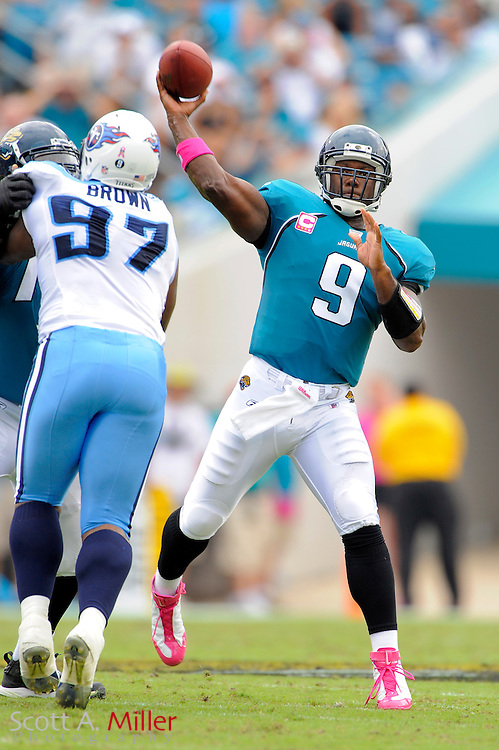 Oct. 4, 2009; Jacksonville, FL, USA; Jacksonville Jaguars quarterback David Garrard (9) throws up field during the first half of the Jags game against the Tennessee Titans at Jacksonville Municipal Stadium. ©2009 Scott A. Miller