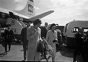 Princess Margaretha of Sweden and her husband, John Ambler, at Dublin Airport. Picture shows Princess Margaretha and Mrs. Nils Eric Ekblad, wife of the Swedish Ambassador to Ireland..28.04.1967