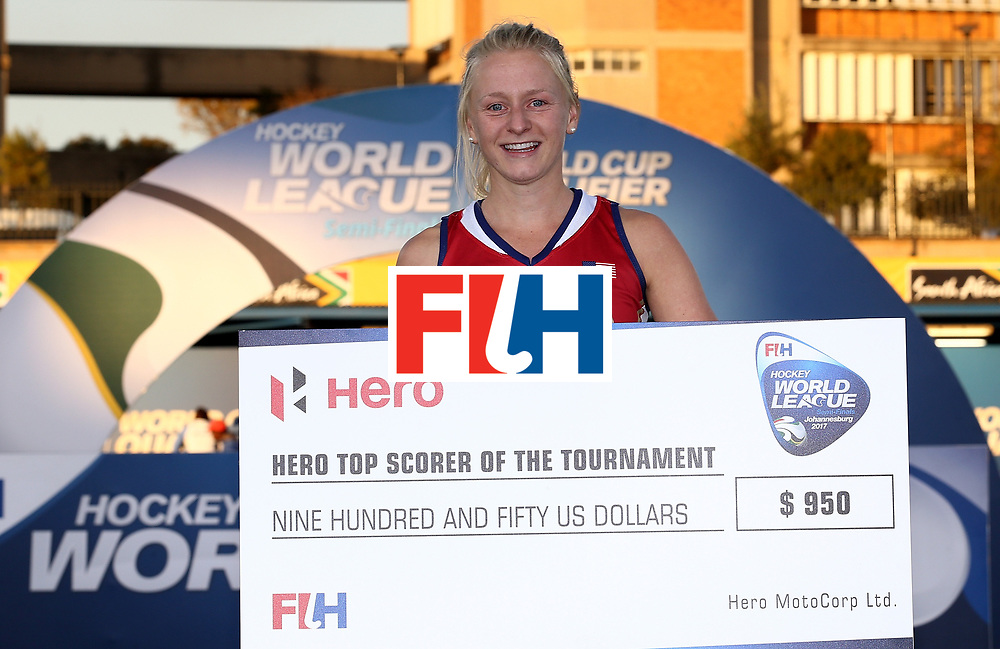 JOHANNESBURG, SOUTH AFRICA - JULY 23:  Jill Witmer of United States of America poses with the top goalscorer award during day 9 of the FIH Hockey World League Women's Semi Finals at Wits University on July 23, 2017 in Johannesburg, South Africa.  (Photo by Jan Kruger/Getty Images for FIH)
