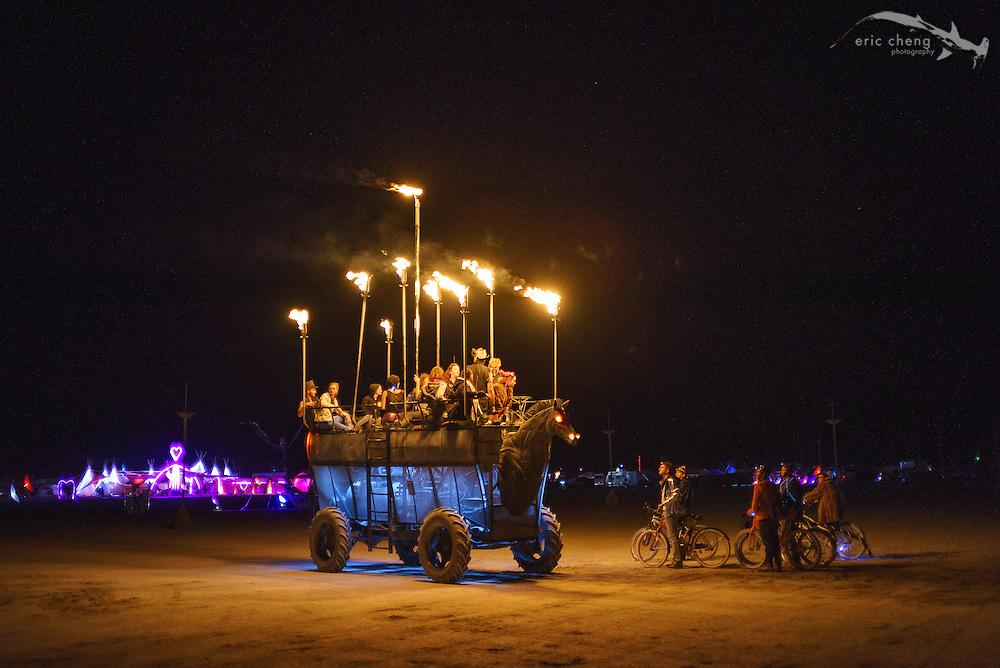 Flame-spewing, evil-horse art car. Burning Man 2014.