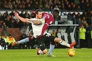 Derby County forward Jack Marriott (14) and Aston Villa defender Axel Tuanzebe (4) during the EFL Sky Bet Championship match between Derby County and Aston Villa at the Pride Park, Derby, England on 10 November 2018.
