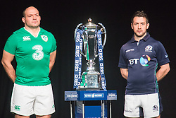 Hurlingham Club, London, January 27th 2016. Ireland Captain Rory Best and Scotland Captain Greig Laidlaw at the launch of the RBS Six Nations Rugby Tornament. ///FOR LICENCING CONTACT: paul@pauldaveycreative.co.uk TEL:+44 (0) 7966 016 296 or +44 (0) 20 8969 6875. ©2015 Paul R Davey. All rights reserved.