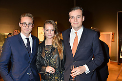 Left to right, ALEX COLERIDGE, ROSE MACDONALD-BUCHANAN and FREDDIE COLERIDGE at a party to celebrate the publication of Capability Brown & Belvoir - Discovering a lost Landscape by The Duchess of Rutland, held at Christie's, 8 King Street, St.James, London on 7th October 2015.