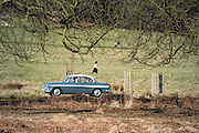 © Licensed to London News Pictures. 22/03/2015. Richmond, UK. A classic car drives through he park.  People enjoy the late afternoon sunshine in Richmond Park, Surrey, today 22nd March 2015. Photo credit : Stephen Simpson/LNP