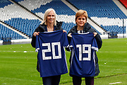 First Minister Nicola Sturgeon (Patron on the Scotland Womens National Team) with Scotland Head Coach Shelley Kerr looking forward to the FIFA Women's World Cup during the press conference for the Scotland Women's team World Cup Funding Announcement held at Hampden Park, Glasgow, United Kingdom on 26 September 2018..