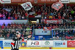 24.02.2019, Ice Rink, Znojmo, CZE, EBEL, HC Orli Znojmo vs EHC Liwest Black Wings Linz, Qualifikationsrunde, 49. Runde, im Bild Schiedsrichter, Referee // during the Erste Bank Eishockey League 49th round match between HC Orli Znojmo and EHC Liwest Black Wings Linz at the Ice Rink in Znojmo, Czechia on 2019/02/24. EXPA Pictures © 2019, PhotoCredit: EXPA/ Rostislav Pfeffer