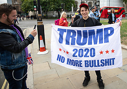 © Licensed to London News Pictures. 05/09/2018. London, UK. NOTE: FILE PHOTO. James Goddard (left) and Max Hammet-Millay (right) pictured at a Brexit demonstration in September. The pair have been accused of being part of the group calling Conservative MP Anna Soubry a 'Nazi' on Monday this week. [ORIGINAL CAPTION: Anti-Brexit demonstrators and some far-right sympathisers campaign outside the Houses of Parliament, calling for Britain's immediate exit from the EU, and the re-instating of former Foreign Secretary Boris Johnson.] Photo credit : Tom Nicholson/LNP