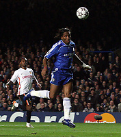 Photo: Paul Thomas.<br /> Chelsea v Valencia. UEFA Champions League. Quarter Final, 1st Leg. 04/04/2007.<br /> <br /> Didier Drogba (Blue) of Chelsea heads Chelsea level.
