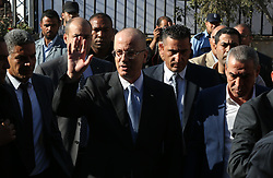 October 3, 2017 - Gaza, gaza strip, Palestine - Palestinian Prime Minister Rami Hamdallah (C) arrives to attend first cabinet meeting in Gaza since unity government was established in 2014, in Gaza City, Gaza on October 3, 2017. (Credit Image: © Majdi Fathi/NurPhoto via ZUMA Press)
