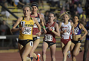 Karissa Schweizer of Missouri , Gwen Jorgensen and Carrie Dimoff lead the women's 10,000m in the Stanford Invitational in Stanford, Calif., Friday, Mar 30, 2018. Jorgensen won in 31:55.68. Dimoff was second in 31:57.85 and Schweizer was third in 32:00.55. (Gerome Wright/Image of Sport)