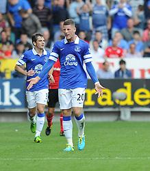 Everton's Ross Barkley complains after a tackle.  - Photo mandatory by-line: Alex James/JMP - Tel: Mobile: 07966 386802 31/08/2013 - SPORT - FOOTBALL - Cardiff City Stadium - Cardiff - Cardiff City V Everton - Barclays Premier League