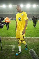 CARDIFF, WALES - Tuesday, January 24, 2012: Crystal Palace's Anthony Gardner looks dejected as his side lose on penalties to Cardiff City during the Football League Cup Semi-Final 2nd Leg at the Cardiff City Stadium. (Pic by David Rawcliffe/Propaganda)