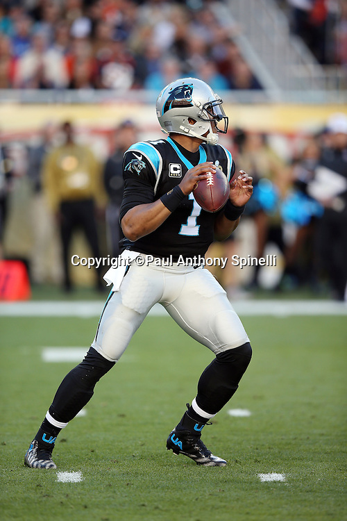 Carolina Panthers quarterback Cam Newton (1) drops back to pass in the first quarter during the NFL Super Bowl 50 football game against the Denver Broncos on Sunday, Feb. 7, 2016 in Santa Clara, Calif. The Broncos won the game 24-10. (©Paul Anthony Spinelli)