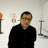 BEIJING, SEPTEMBER-9 : ARTIST ZHAN WANG IN HIS STUDIO ON THE OUTSKIRTS OF BEIJING.