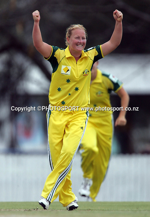Australia's Clea Smith celebrates taking the wicket of Rebecca Rolls for 11 runs during the fourth ODI Rose Bowl cricket match between the White Ferns and Australia at Allan Border Field, Brisbane, Australia, on Thursday 26 October 2006. Australia won the match by 85 runs with a total of 252. Photo: Renee McKay/PHOTOSPORT<br />