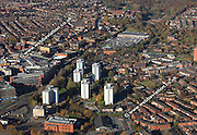 aerial photograph of  tower blocks in Scholes Wigan Lancashire England UK