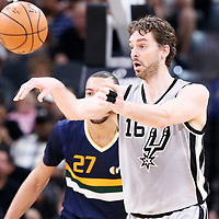 02 April 2017: Utah Jazz center Rudy Gobert (27) defends on San Antonio Spurs center Pau Gasol (16) during the San Antonio Spurs 109-103 victory over the Utah Jazz, at the AT&T Center, San Antonio, Texas, USA.