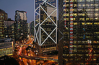 China Hong Kong New Bank of China and street elevated view