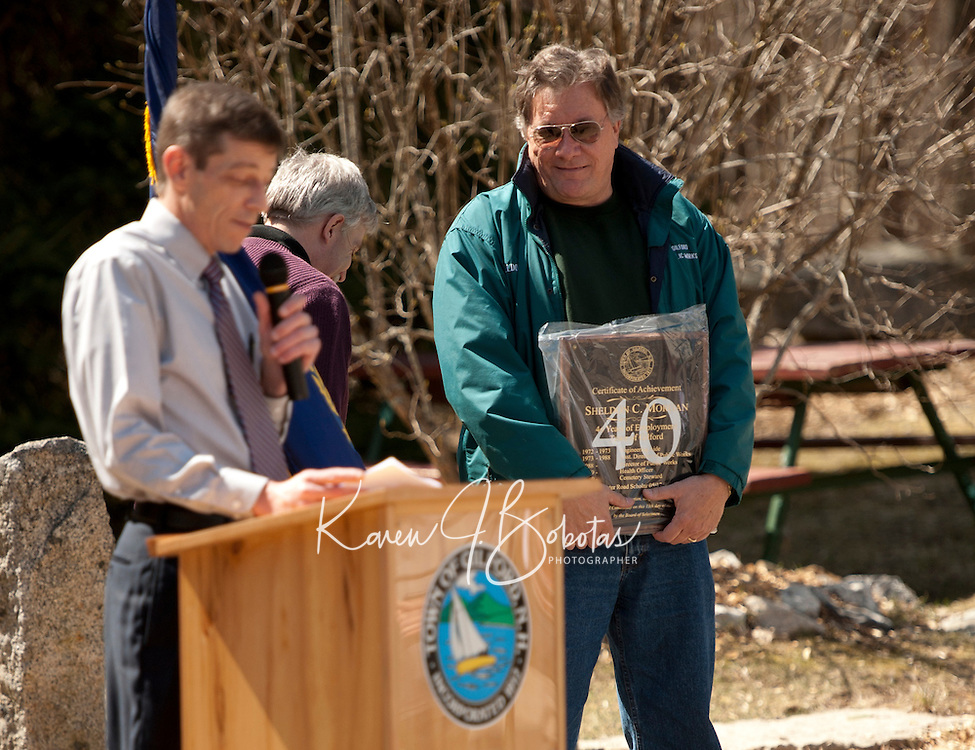 Sheldon Morgan 40 years of service with the Town of Gilford.  Karen Bobotas/for the Laconia Daily Sun