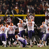 Clemson's Mark Buchholz kicks the game-winning field goal against South Carolina during fourth-quarter action in Columbia, S.C. on Saturday, Nov. 24, 2007. (Travis Bell/Sideline Carolina)