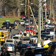 The chaotic scene outside the fire station in Sandy Hook after today's shootings at Sandy Hook Elementary School, Newtown, Connecticut, USA. 14th December 2012. Photo Tim Clayton