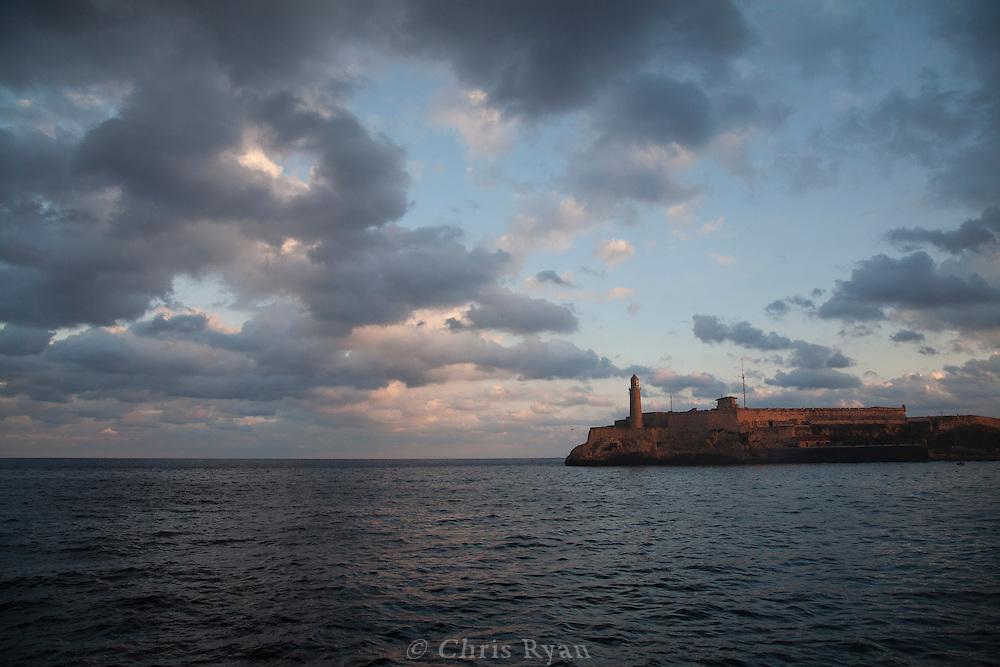 Lighthouse at harbor entrance, Havana, Cuba