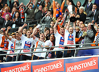 The Luton team are presented with the trophy<br /> Luton Town vs Scunthorpe United<br /> Johnstone's Paint Trophy, Wembley Stadium, UK<br /> 05/04/2009. Credit Colorsport/Dan Rowley