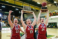 during the division I girls basketball championship between the Champlain Valley Union Redhawks and the St. Johnsbury Hilltoppers at Patrick Gym on Saturday afternoon March 18, 2917 in Burlington. (BRIAN JENKINS/for the FREE PRESS)