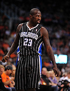 Mar. 13, 2011; Phoenix, AZ, USA; Orlando Magic guard Jason Richardson (23) reacts on the court against the Phoenix Suns at the US Airways Center. The Magic defeated the Suns 111-88. Mandatory Credit: Jennifer Stewart-US PRESSWIRE