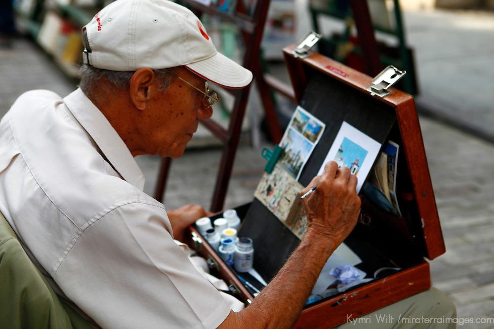 Central America, Cuba, Havana. Street artist of Old Havana.