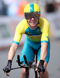 Australia's Cameron Meyer crosses the line to post the fastest time and win the Men's Individual Time Trial at Currumbin Beachfront on day six of the 2018 Commonwealth Games in the Gold Coast, Australia.