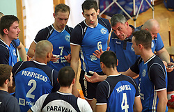 Players of Salonit Anhovo and coach Emanuele Fracascia at 4th and final match of Slovenian Voleyball  Championship  between OK Salonit Anhovo (Kanal) and ACH Volley (from Bled), on April 23, 2008, in Kanal, Slovenia. The match was won by ACH Volley (3:1) and it became Slovenian Championship Winner. (Photo by Vid Ponikvar / Sportal Images)/ Sportida)