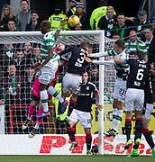 Dundee keeper Scott Bain tips the ball off the head of Celtic&rsquo;s Moussa Dembele - Dundee v Celtic in the Ladbrokes Scottish Premiership at Dens Park, Dundee.Photo: David Young<br /> <br />  - &copy; David Young - www.davidyoungphoto.co.uk - email: davidyoungphoto@gmail.com
