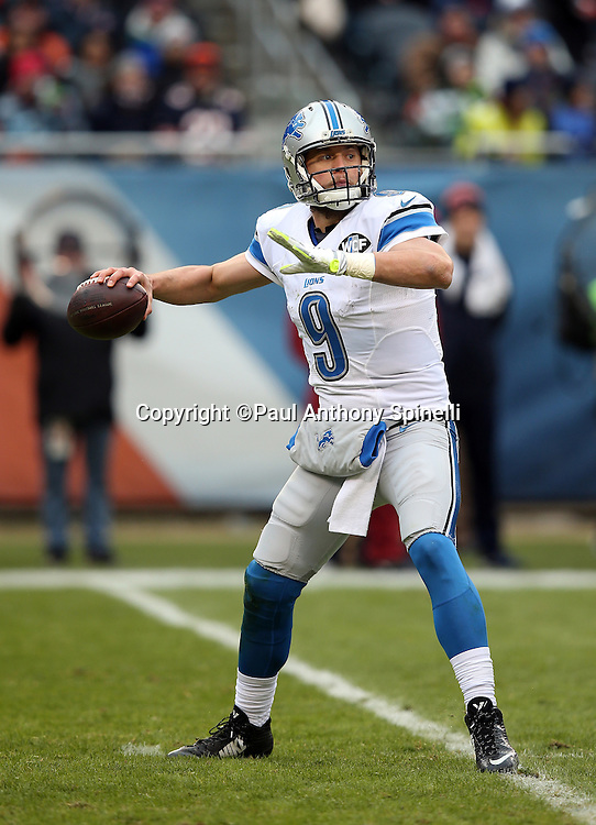 Detroit Lions quarterback Matthew Stafford (9) throws a second quarter pass for a gain of 11 yards during the NFL week 17 regular season football game against the Chicago Bears on Sunday, Jan. 3, 2016 in Chicago. The Lions won the game 24-20. (©Paul Anthony Spinelli)