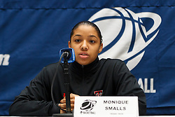 March 18, 2011; Stanford, CA, USA; Texas Tech Lady Raiders guard Monique Smalls (23) speaks at a press conference the day before the first round of the 2011 NCAA women's basketball tournament at Maples Pavilion.