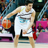 06 August 2012: Argentina Facundo Campazzo dribbles during 126-97 Team USA victory over Team Argentina, during the men's basketball preliminary, at the Basketball Arena, in London, Great Britain.