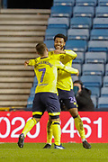 GOAL 2-0 The two Blackburn Rovers goalscorers celebrate together, Blackburn Rovers forward Joe Nuttall (24) and Blackburn Rovers forward Adam Armstrong (7), during the EFL Sky Bet Championship match between Millwall and Blackburn Rovers at The Den, London, England on 12 January 2019.