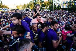 Jasmin Handanovic of NK Maribor with his kids celebrate after NK Maribor became Slovenian National Champion 2017 after football  match between NK Maribor and NK Krskor in Round #36 of Prva liga Telekom Slovenije 2016/17, on May 27th, 2017 in Ljudski Vrt, Maribor, Slovenia. Photo by Grega Valancic / Sportida