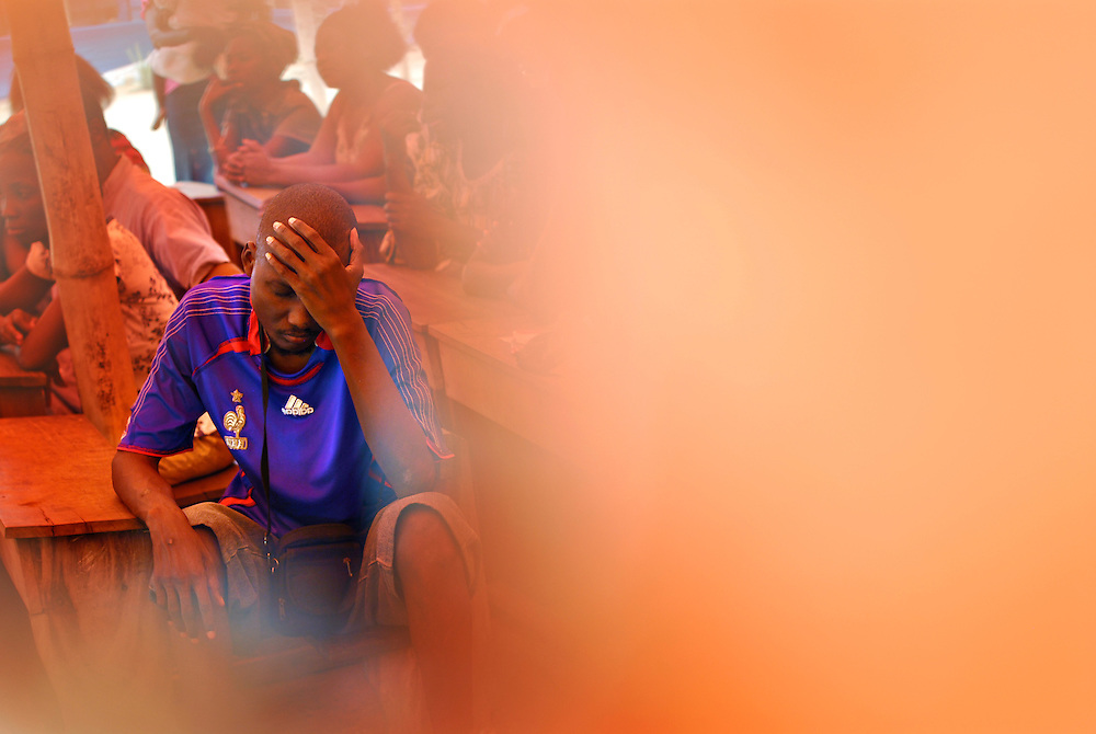 12-02-07  --  AMPAIN, GHANA --  An unidentified man with reacts at a meeting for persons with disabilities in the Ampain Refugee Camp on February 7. Photo by Daniel Hayduk