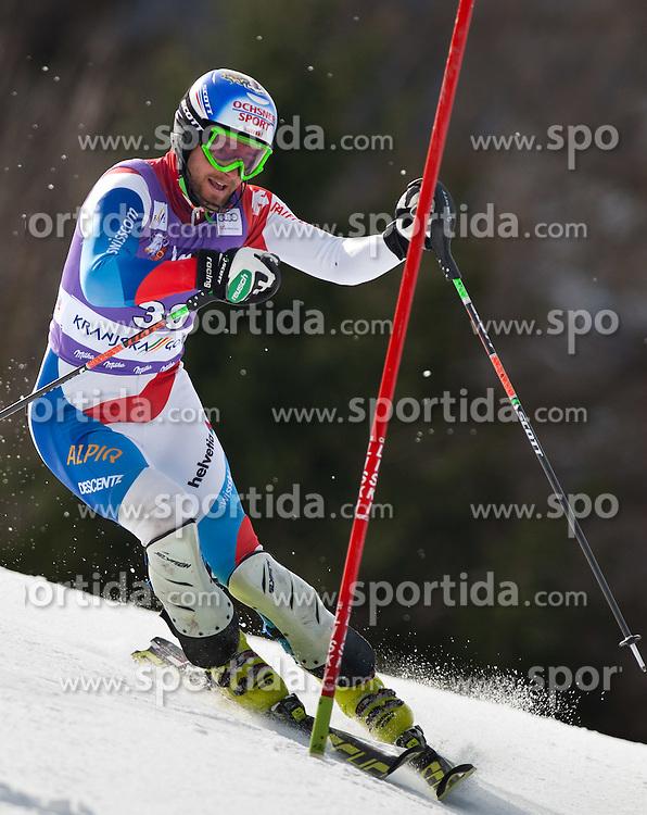 11.03.2012, Podkoren 3, Kranjska Gora, SLO, FIS Weltcup Ski Alpin, Herren, Salom, 1. Durchgang, im Bild Markus Vogel (SUI) // Markus Vogel of Switzerland during mens Slalom 1st run of FIS Ski Alpine World Cup at 'Podkoren 3' course in Kranjska Gora, Slovenia on 2012/03/11. EXPA Pictures © 2012, PhotoCredit: EXPA/ Johann Groder