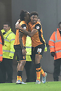 Hull City striker Abel Hernandez celebrates his goal wit Hull City striker Chuba Akpom to go 1 all during the Capital One Cup Fourth Round match between Hull City and Leicester City at the KC Stadium, Kingston upon Hull, England on 27 October 2015. Photo by Ian Lyall.